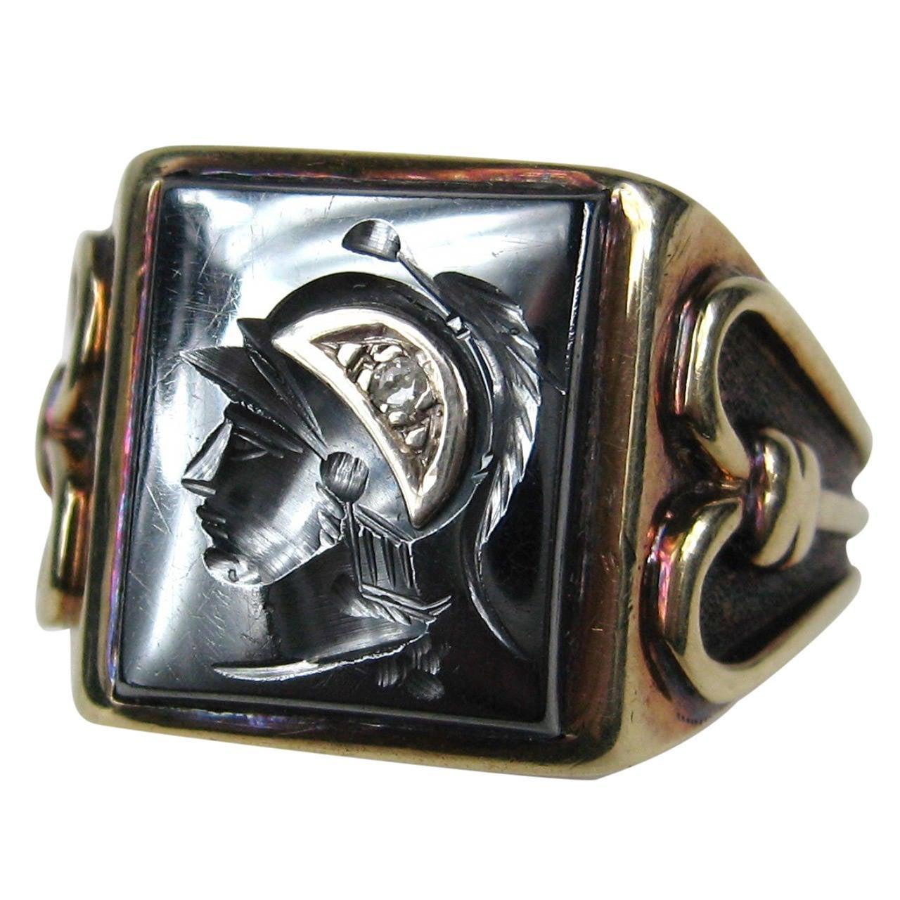 Hematite Diamond Gold Intaglio Ring