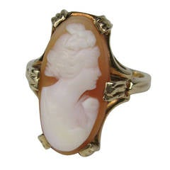 Lovely Lady Cameo Gold Oval Ring