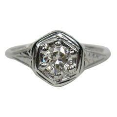 1920s Art Deco Diamond Engagement Gold Ring