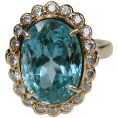 Blue Topaz Diamond Gold Cocktail Ring