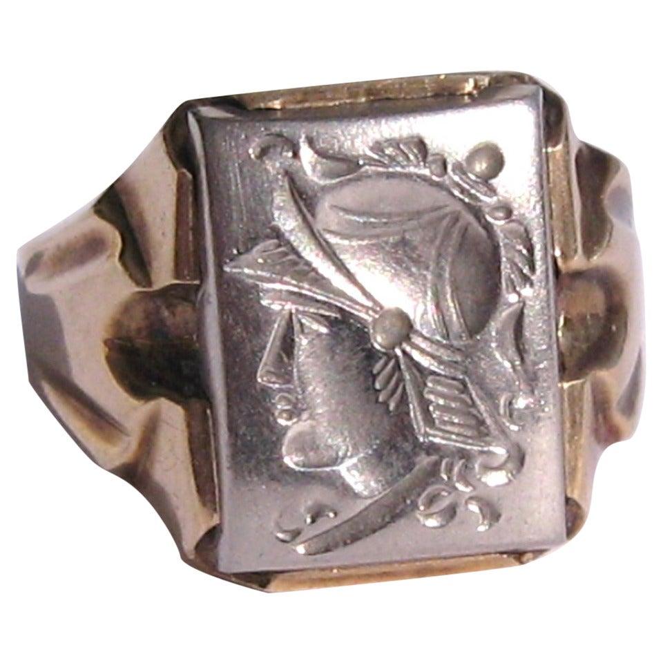 Silver Gold Intaglio Ring