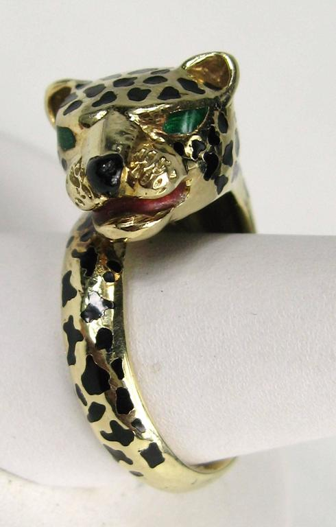 Stunning Enamel Gold Leopard Head Wrap Ring  2