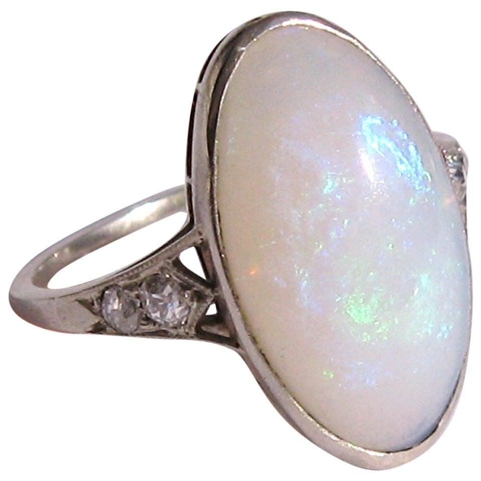 opal white gold ring at 1stdibs