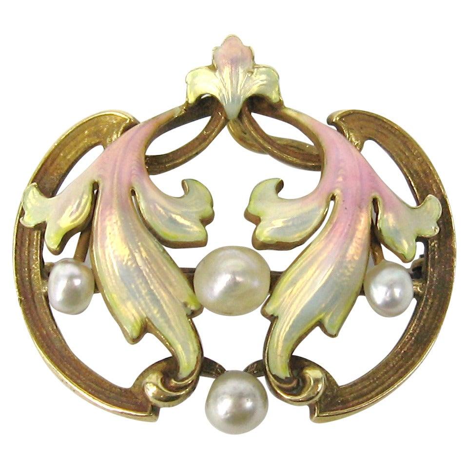 Art Nouveau Pastel Enameled Pearl Gold Brooch Pendant 1