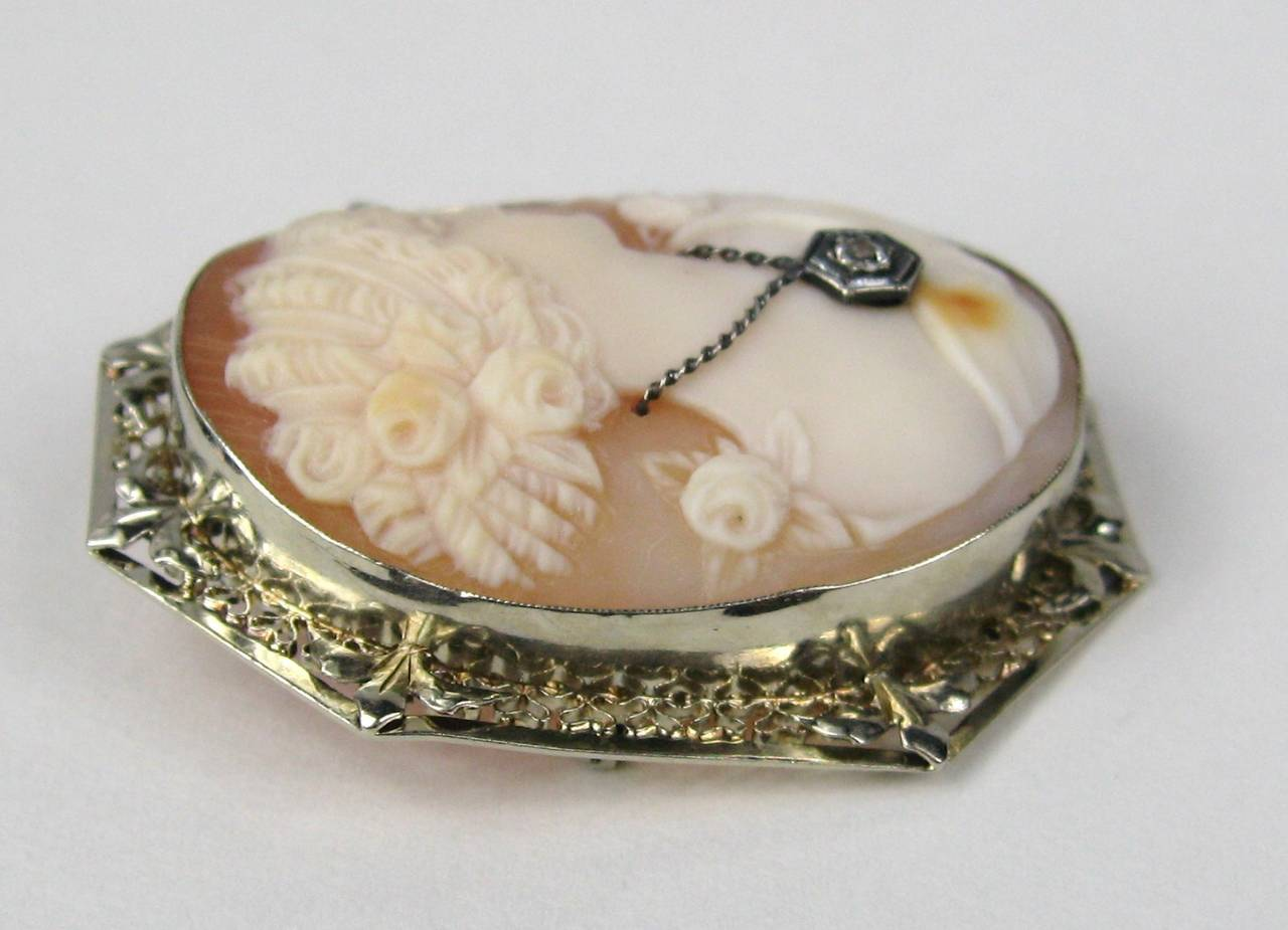 Diamond gold fine lady cameo pendant brooch for sale at for Fine jewelry diamond pendants