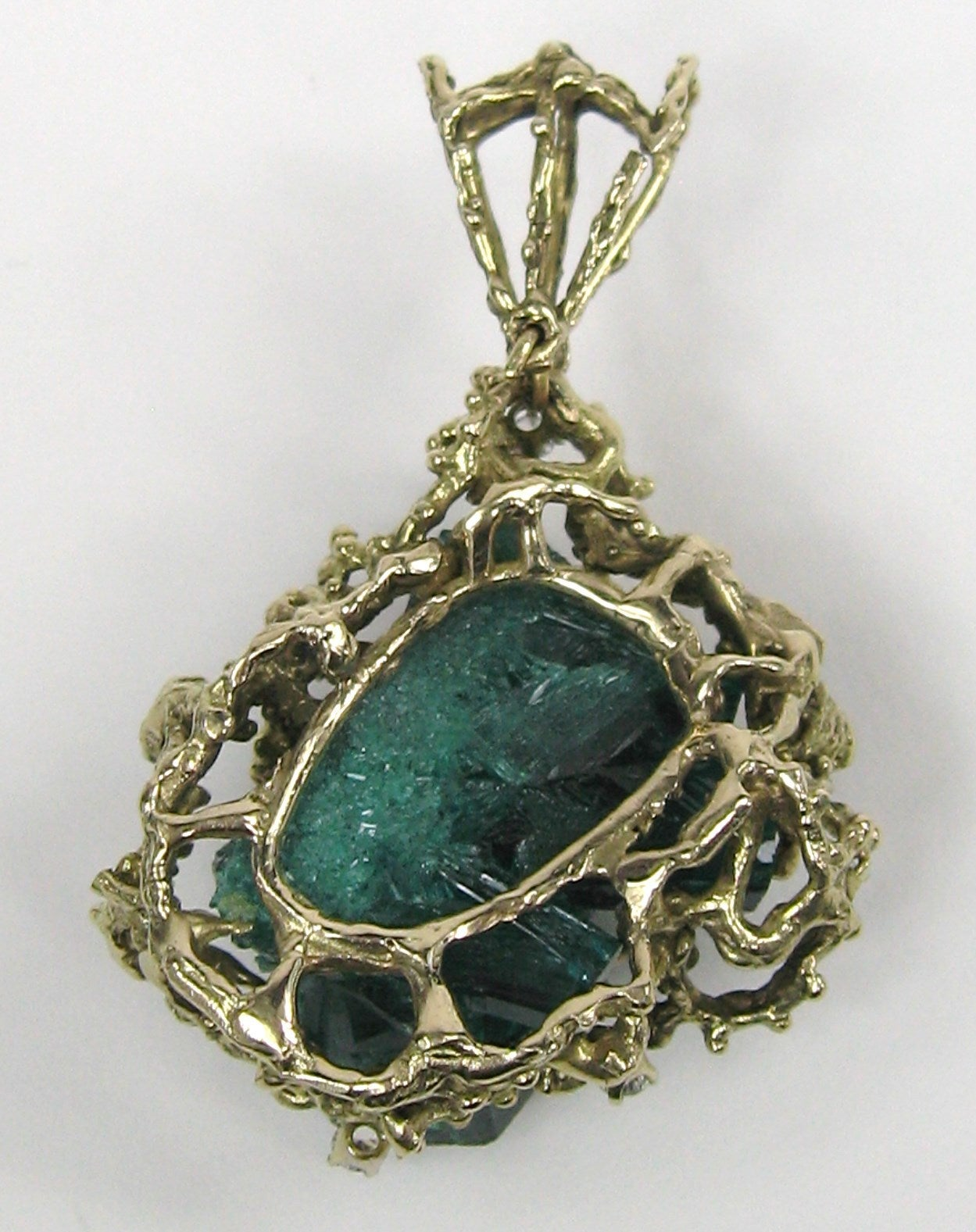 Brutalist Chatham Emerald Diamond Gold Pendant For Sale at ...