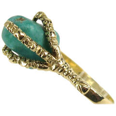 1930s Gold Griffen Talon Turquoise Ring