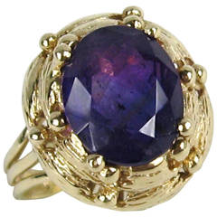 1970s Amethyst Gold Solitaire Ring