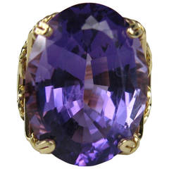 Stunning 1980s Amethyst Tall Rib Work Gold Ring