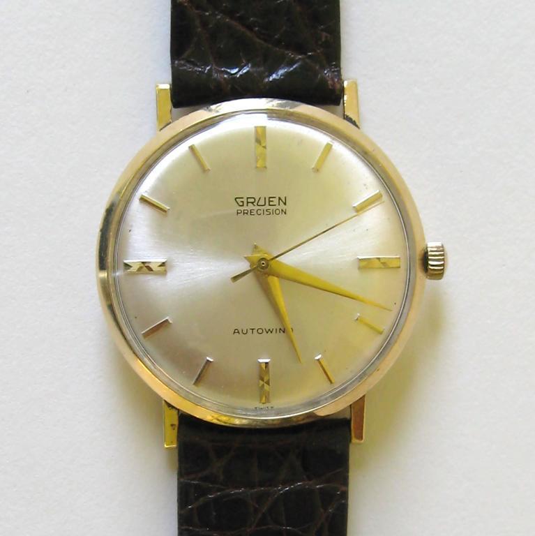 vintage gruen percision autowind yellow gold s wrist