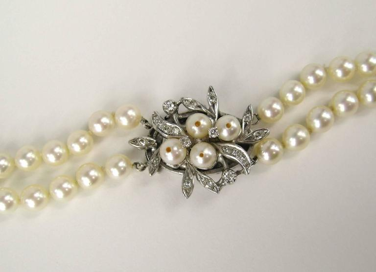 Elegant Classic 1920s   Double Strand Pearl Diamond White Gold Necklace  2