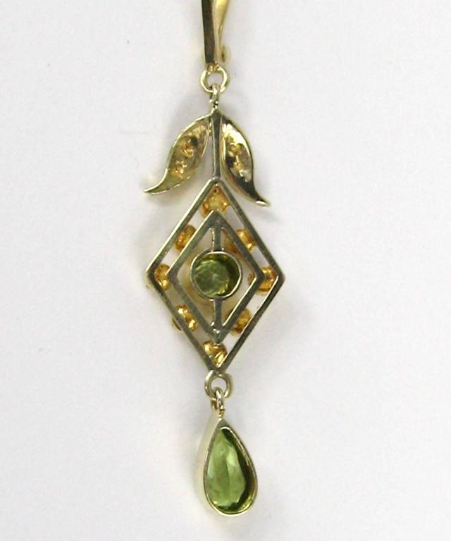 Stunning Gold Peridot Seed Pearl lavalier Necklace  In Excellent Condition For Sale In Wallkill, NY