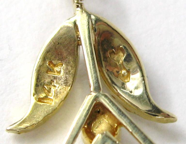 Stunning Gold Peridot Seed Pearl lavalier Necklace  5