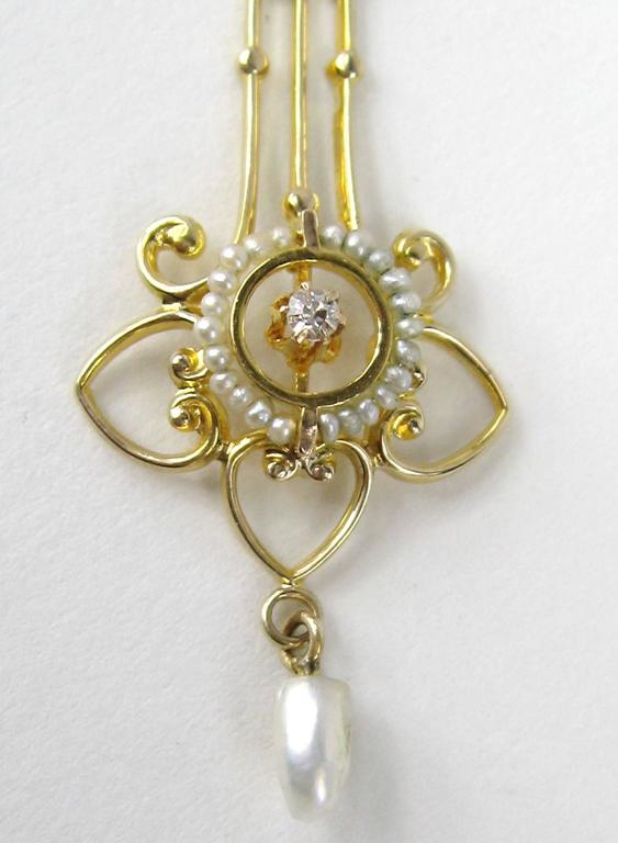 Late Victorian Antique Victorian Delicate Seed Pearl Diamond Gold Lavalier Necklace For Sale