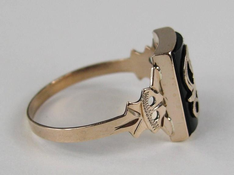 """Victorian Gothic """"S"""" Onyx Gold Initial Ring 2"""