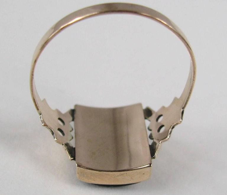 """Women's or Men's Victorian Gothic """"S"""" Onyx Gold Initial Ring For Sale"""