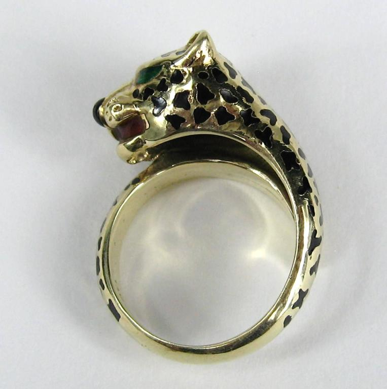 Stunning Enamel Gold Leopard Head Wrap Ring  3