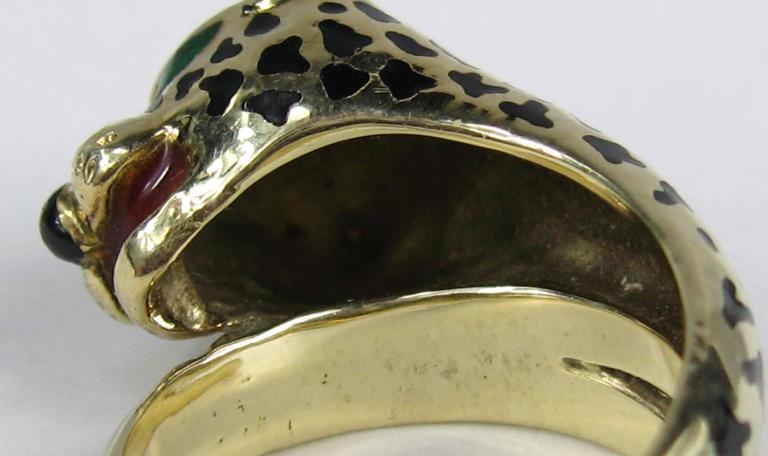 Stunning Enamel Gold Leopard Head Wrap Ring  6