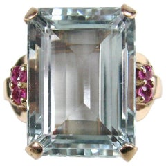 Stunning GIA Certified 16.25 Carat Emerald Cut Aquamarine Ruby Gold Ring