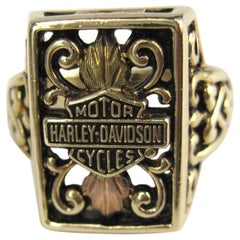 Tricolor Gold Harley Davidson Ring