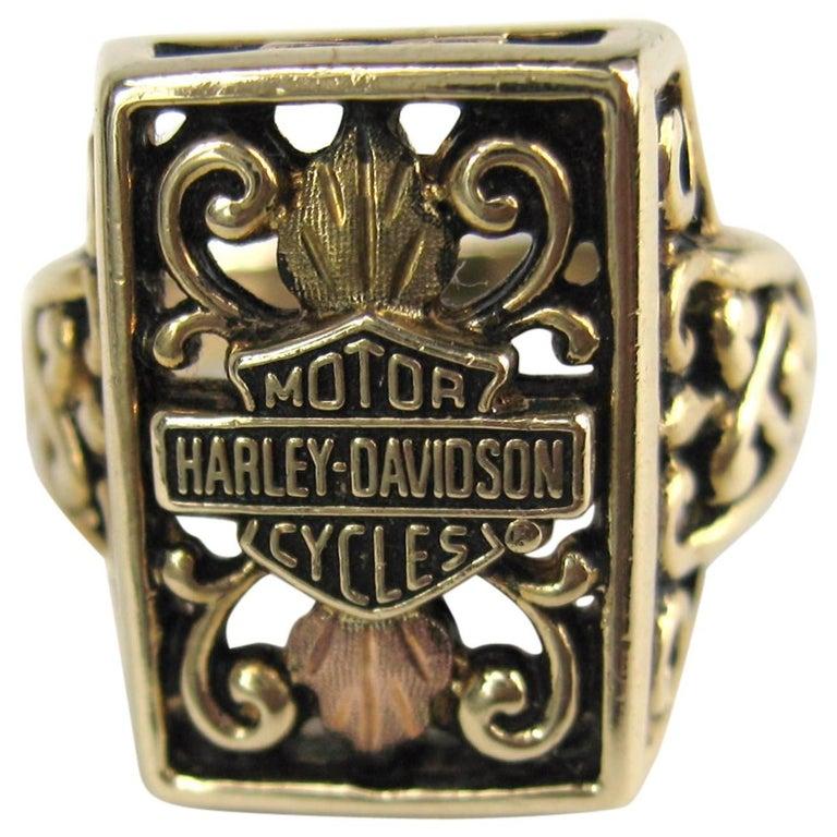 Tricolor Gold Harley Davidson Ring
