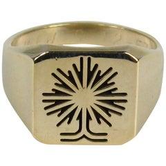 1957 Mid-Century Modernist Gold Tree Motif Ring