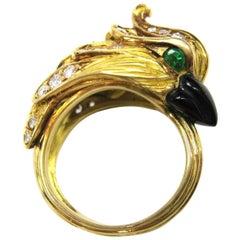 Modern Diamond Gold Figurative Parrot Cockatoo Motif Ring