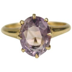Victorian Amethyst Gold Claw Set Ring