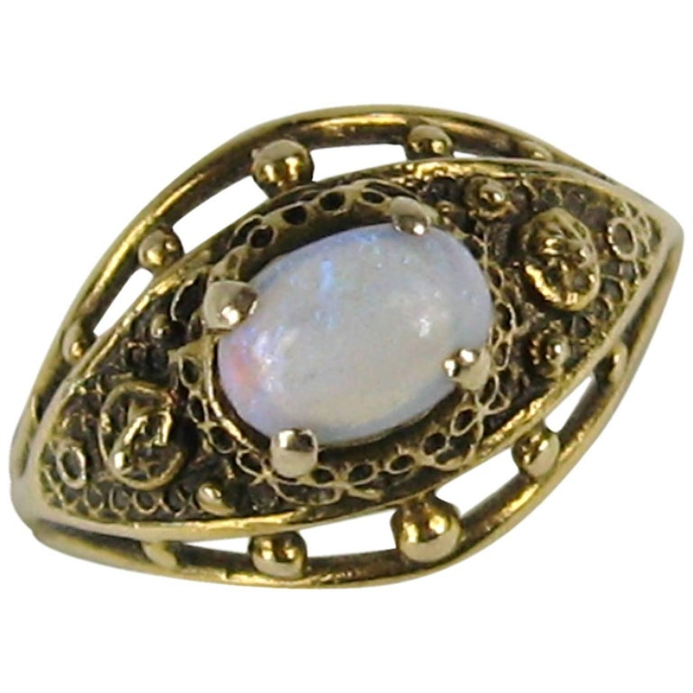 Victorian Revival Opal Gold Ring