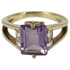 Modernist Amethyst Diamond Gold Ring