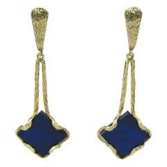 Lapis Lazuli Gold Custom-Made Dangle Earrings