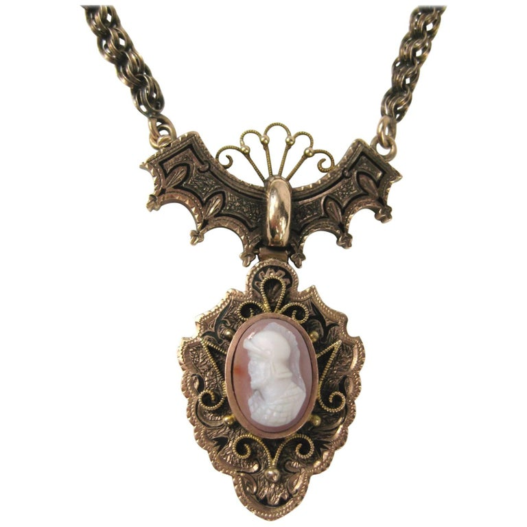 Antique Victorian Rose Gold Greek Male Warrior Cameo Necklace For Sale
