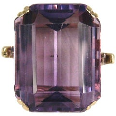 1940s Golden Era Emerald Cut Amethyst Gold Cocktail Ring