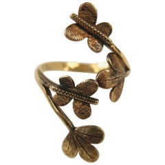 Victorian Tricolored Gold Butterfly Leaf Wrap Ring