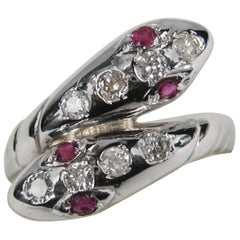 Double Headed White Gold Snake Ring Diamond and Ruby Unisex