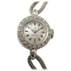 Omega Ladies White Gold Diamond Wristwatch