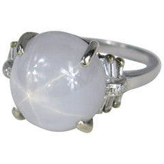 Antique Light Blue Star Sapphire Diamond Platinum Ring
