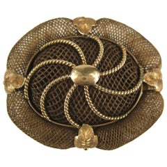1860s Victorian Gold Hair Mourning Brooch