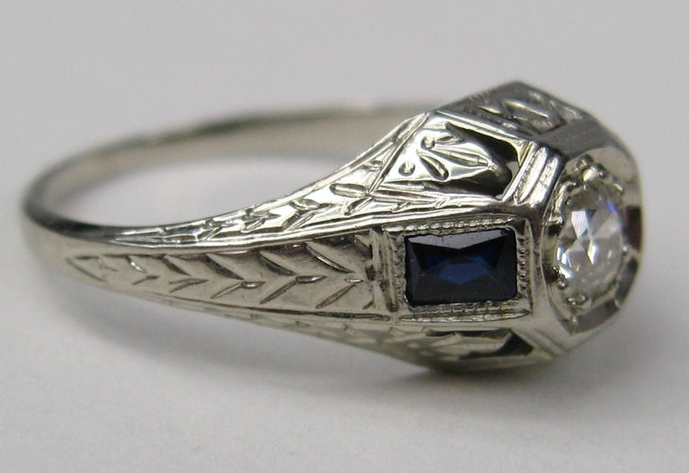 Old European Cut Diamond 14 Karat White Gold Ring 1920s Art Deco For Sale