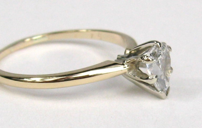 Lovely Pear Shaped Diamond Engagement ring set in 14K Gold. Measuring a size 7. This can be resized by us or your jeweler. Diamond is  .65 carats G/H color SI2. Any questions please call, email or hit contact. Please check our storefront for