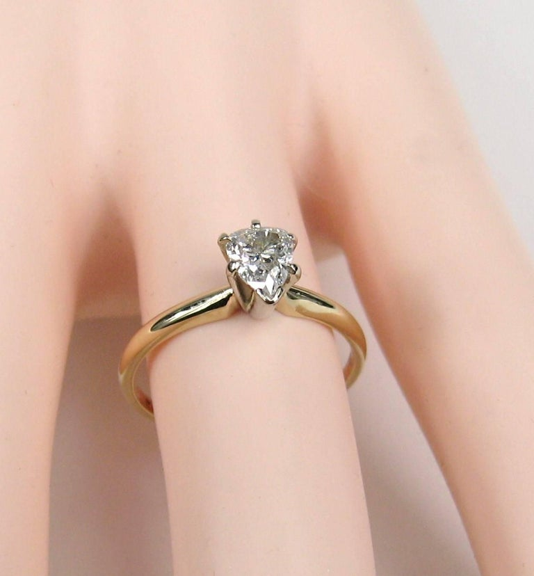 Pear Cut Vintage Diamond Pear Shaped Gold Engagement Ring  For Sale