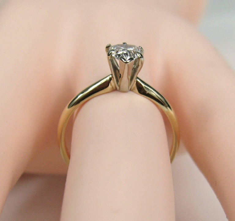 Vintage Diamond Pear Shaped Gold Engagement Ring  In Good Condition For Sale In Wallkill, NY