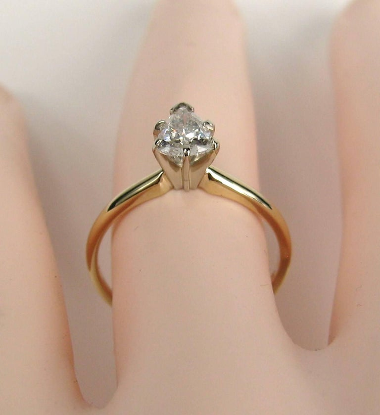 Women's Vintage Diamond Pear Shaped Gold Engagement Ring  For Sale