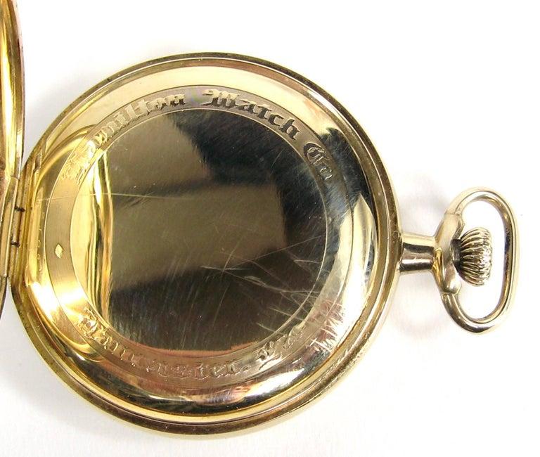 Hamilton Yellow Gold Open Face Antique Pocket Watch, circa 1919 For Sale 4