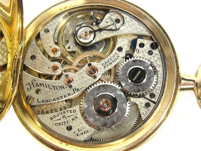 Women's or Men's Hamilton Yellow Gold Open Face Antique Pocket Watch, circa 1919 For Sale