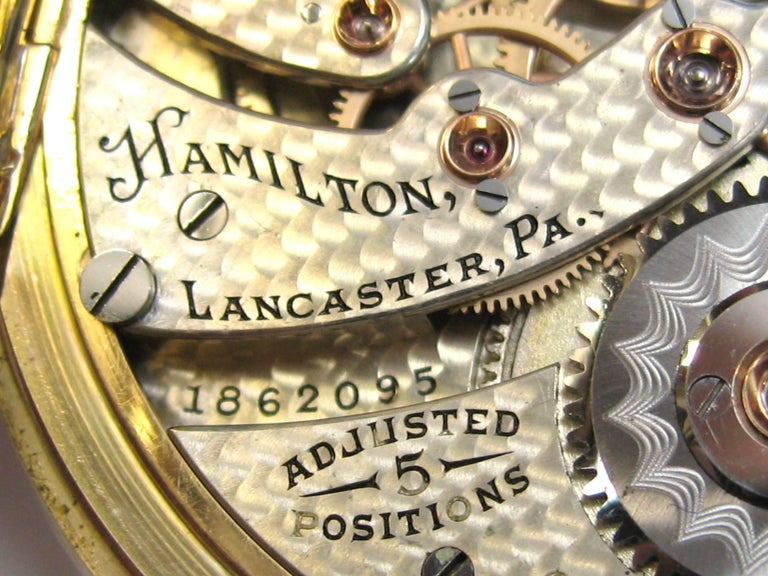 Hamilton Yellow Gold Open Face Antique Pocket Watch, circa 1919 For Sale 2