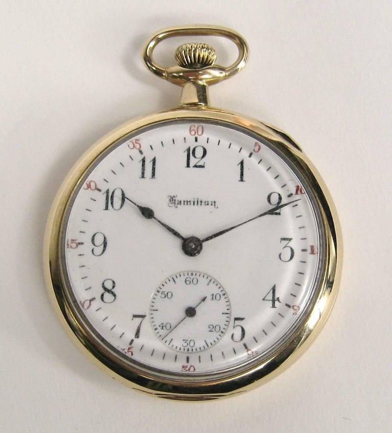 Hamilton Yellow Gold Open Face Antique Pocket Watch, circa 1919 For Sale 5