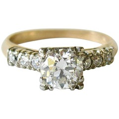 1.25 Carat European Cut Diamond Gold Engagement Ring