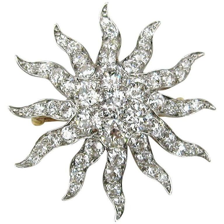 Antique Gold Platinum 8.68 Carat Diamond Convertible Pendant / Brooch For Sale