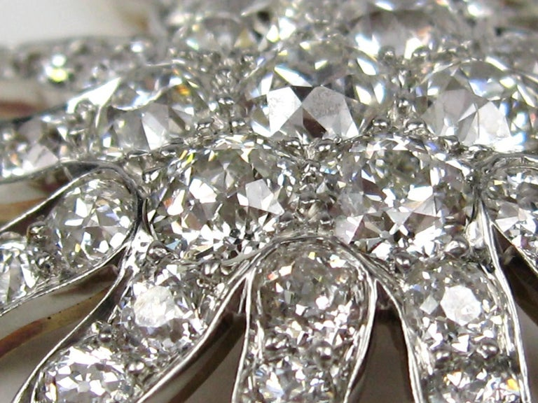 Women's or Men's Antique Gold Platinum 8.68 Carat Diamond Convertible Pendant / Brooch For Sale